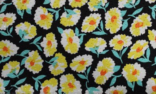 fazzoletto da taschino nerosso, giallo, verde, bianco - fiori, disegno 200066