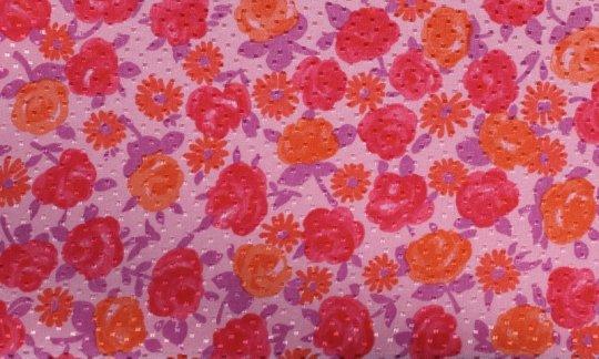 plastron rosso, arancione, rosa - fiori, disegno 200067