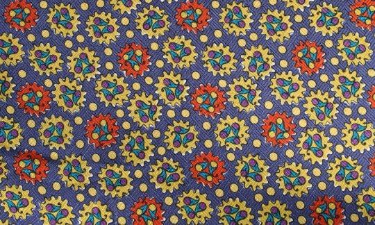 cravatta rosso, oro, azzurro, ametista - fantasia, disegno 200070