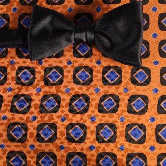 farfalla-papillon azzurro, nero, arancione - quadretti, disegno 200083