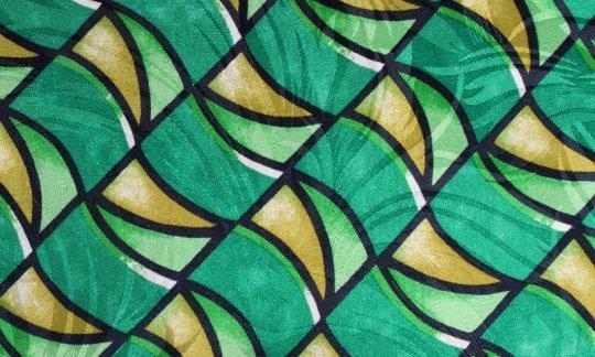 scialle pura seta giallo, verde, nero, bianco - fantasia, disegno 200104