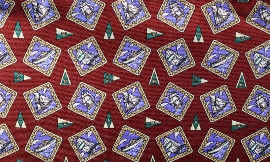cravatta sciarpa azzurro, rosso vino - motivi, disegno 200107