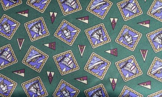cravatta sciarpa verde, azzurro, ametista - motivi, disegno 200112