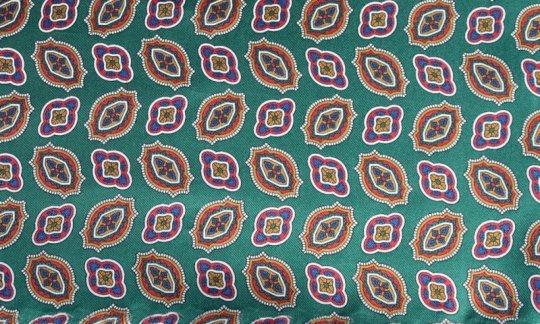 scialle pura seta verde, oro, azzurro - fantasia, disegno 200133