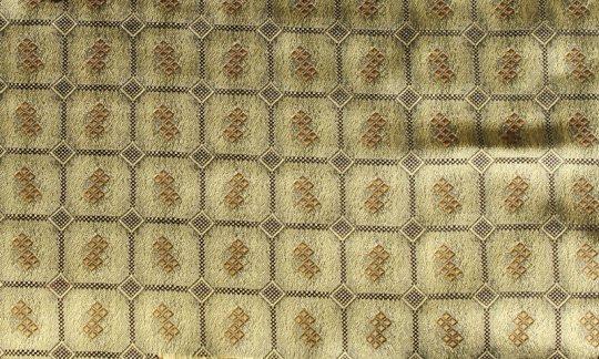 scialle pura seta oro, nero - quadretti, disegno 200180