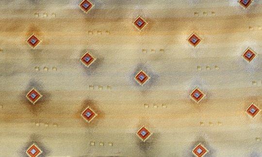scialle pura seta oro, terracotta - quadretti, disegno 200181