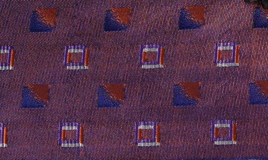 scialle pura seta rosso, blu marino, rosso vino, terracotta - quadretti, disegno 200196