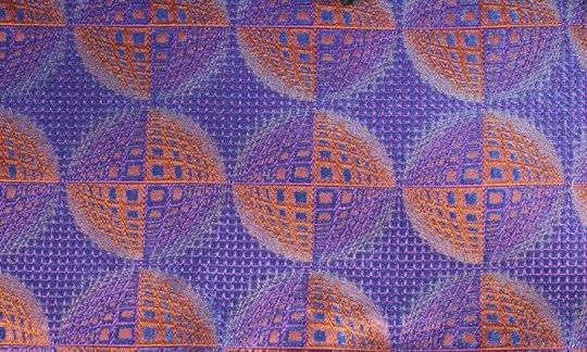 fazzoletto da taschino azzurro, blu marino, arancione, terracotta - fantasia, disegno 200208