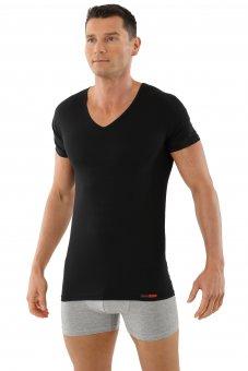 """Maglietta intima uomo, scollatura V, cotone elasticizzato,  maniche corte, nera """"Hamburg"""""""