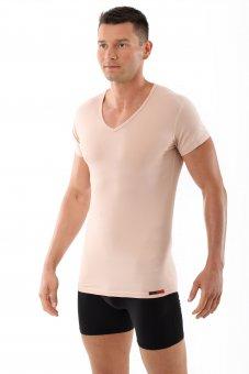 """Maglietta intima uomo """"Hamburg"""" color carne / pelle """"invisibile"""", scollatura a V"""