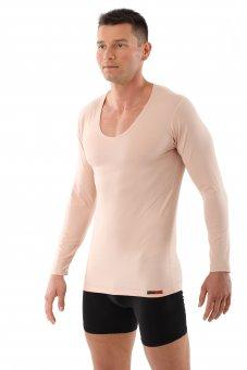 """Maglietta intima uomo maniche lunghe color pelle """"invisibile"""",  scollatura a V, modello """"Hamburg"""""""